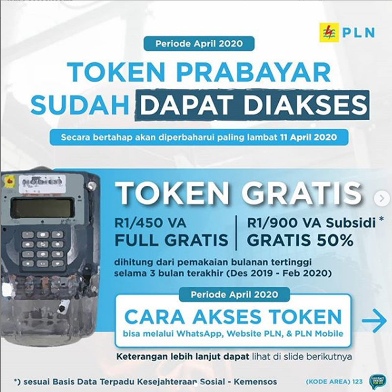 Cara Akses Token Prabayar bulan April 2020