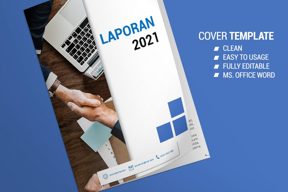Download Template Elegant Clean Cover Laporan 2021 - Ms Office Word