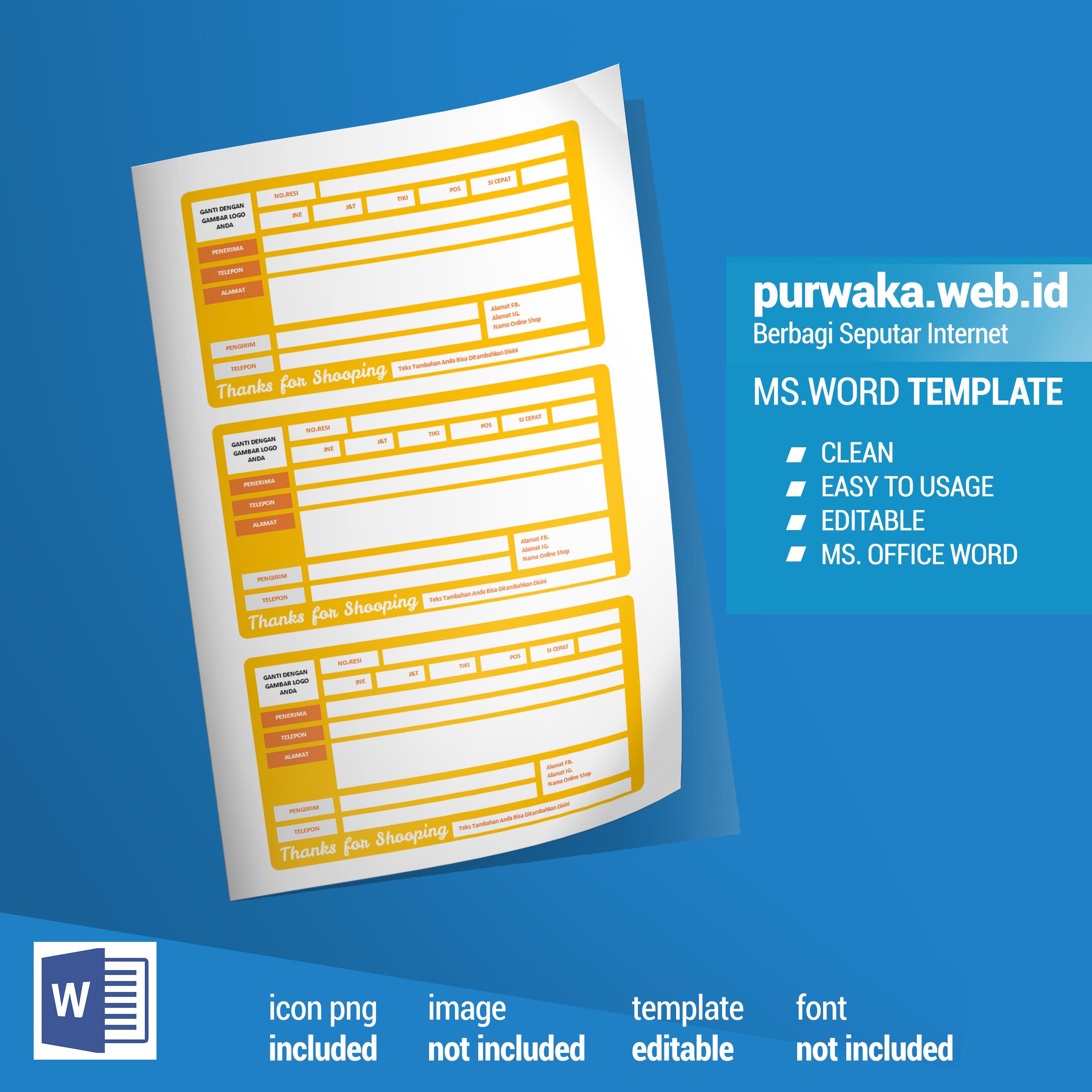 download template pengirim dan nomor resi siap edit ms word